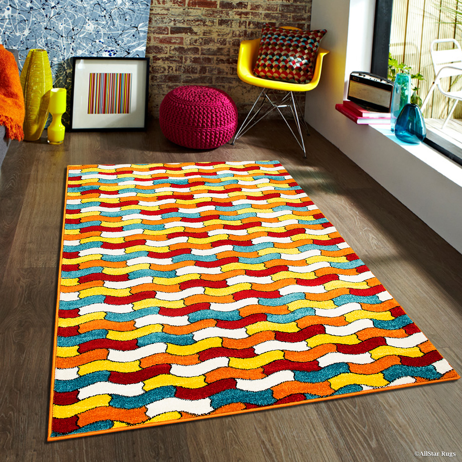 "Allstar Woven High Quality Colorfun. Burst of Colors. Contemporary. Modern. Geometric. Area Rug (7' 10"" x 10')"