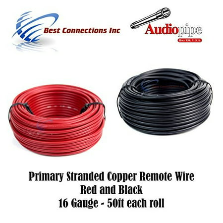 best connections 16 gauge wire red & black power ground 50 ft each primary stranded copper