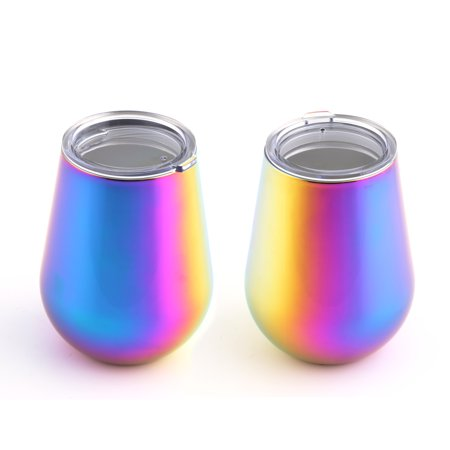 14-Ounce Rainbow Finish Double Wall Stemless Wine, Set of 2 ()