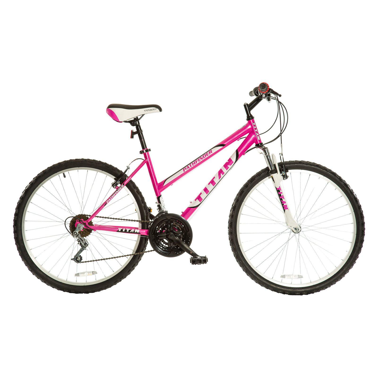 Titan Pathfinder Women's 18-Speed Suspension Mountain Bike, Hot Pink
