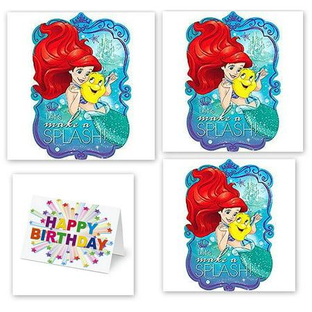 Princess Little Mermaid Ariel Decoration Party Birthday Invitations Invite 24PC Plus Card