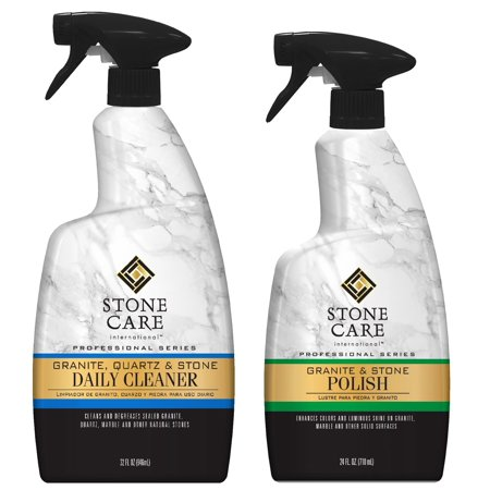 Stone Care International Granite Stone Cleaner and Polish Combo - 2 Pack - for Granite Marble Soapstone Quartz Quartzite Slate Limestone Corian Laminate Tile