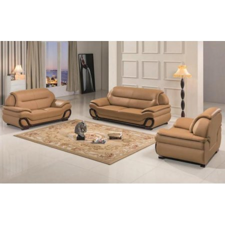 Maxwest C203 Ch Modern Camel Genuine Leather Sofa Loveseat And Chair Set 3 Pcs