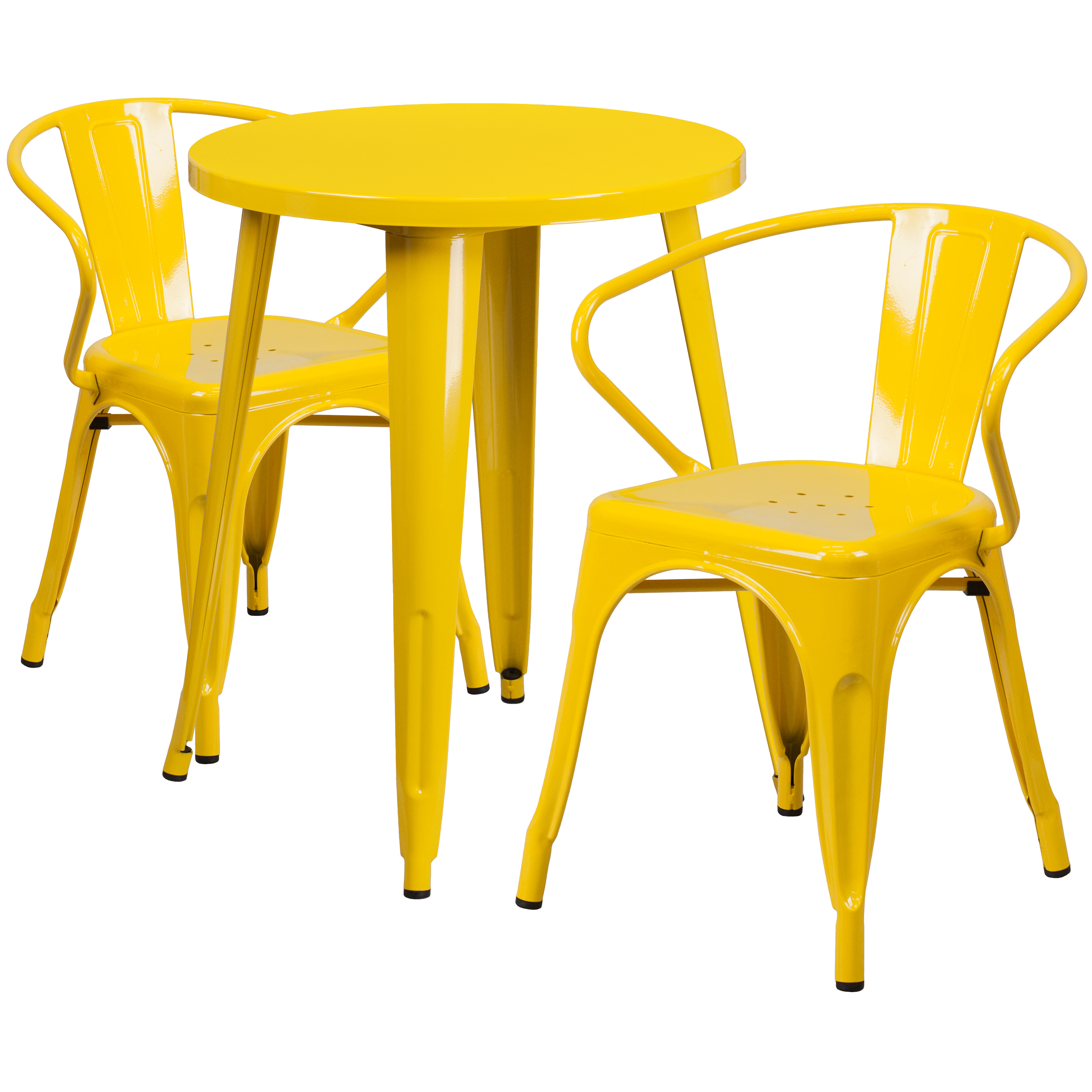"Flash Furniture 24"" Round Metal Indoor-Outdoor Table Set with 2 Arm Chairs, Multiple Colors"