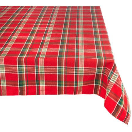 """60"""" x 120"""" Tango Red and Green Plaid Designed Resistant Table Cloth"""