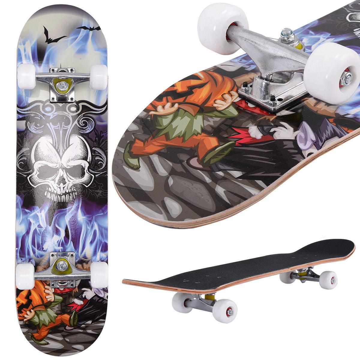 Costway 31'' x 8'' Professional Skateboard Longboard Complete Trucks Maple Deck Wood Child by Costway