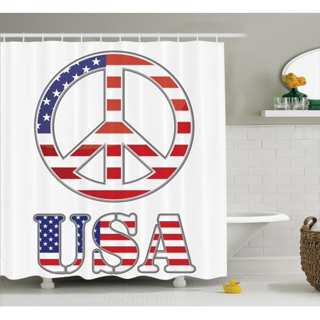 Groovy Decorations Shower Curtain Set, Modern Peace Sign With Usa Flag Color Design Hippie Freedom No War Symbol Theme, Bathroom Accessories, 69W X 70L Inches, By Ambesonne