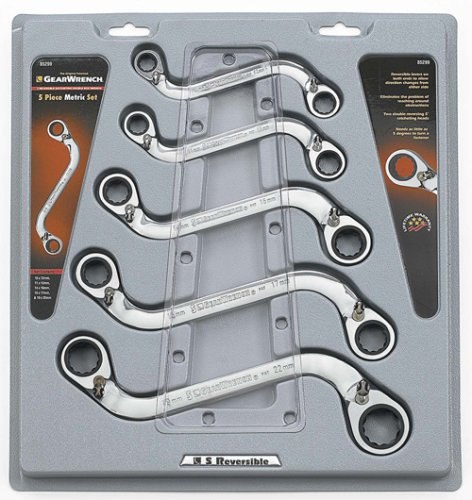 GearWrench EHT85299 5 Piece S Shape Reversible Double Box Ratcheting Wrench Set - Metric