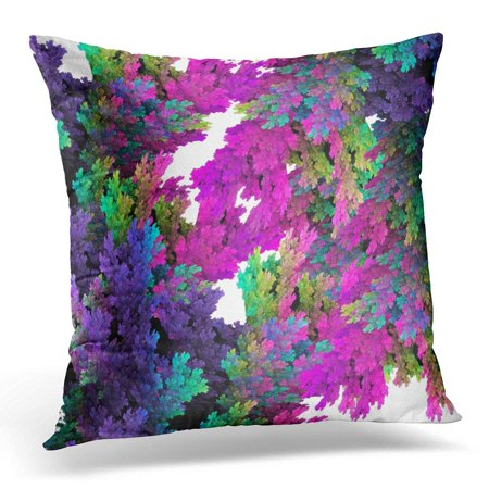 RYLABLUE Colorful Abstract Whimsical Neon Pink Teal Purple Floral Magenta Pillowcase Cover 18x18 inch - image 1 de 1