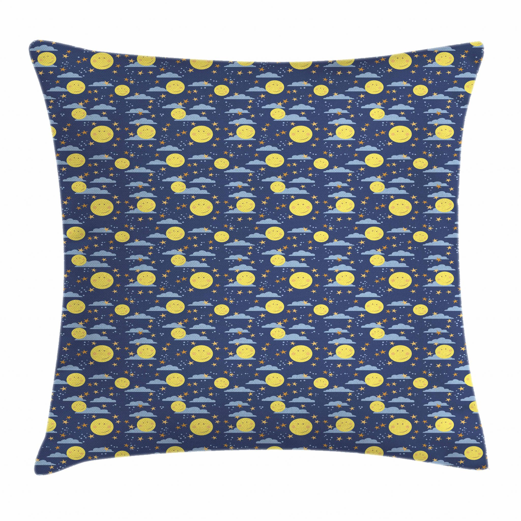 Kids Throw Pillow Cushion Cover Smiling Full Moon Faces