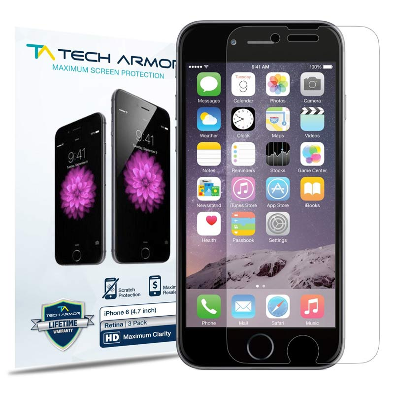 Screen Protector SP-HD-APL-IP6-1 Tech Armor 4.7 inch for iPhone 6 ONLY) High Defintion Screen Protectors 3-Pack