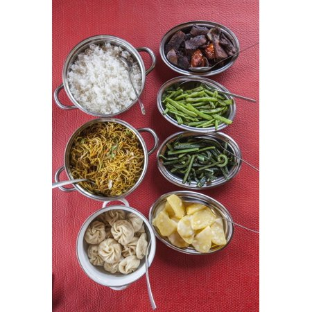 Bhutanese Dishes Served at a Restaurant in Thimphu Rice and Vegetables Including Chilli, Bhutan Print Wall Art By Roberto - Chilis Restaurant