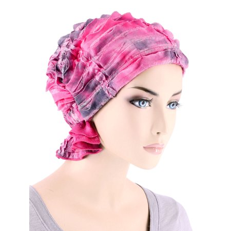 Turban Plus The Abbey Cap ® Womens Chemo Hat Beanie Scarf Turban for Cancer Ruffle Embroidered Pink Tie-Dye