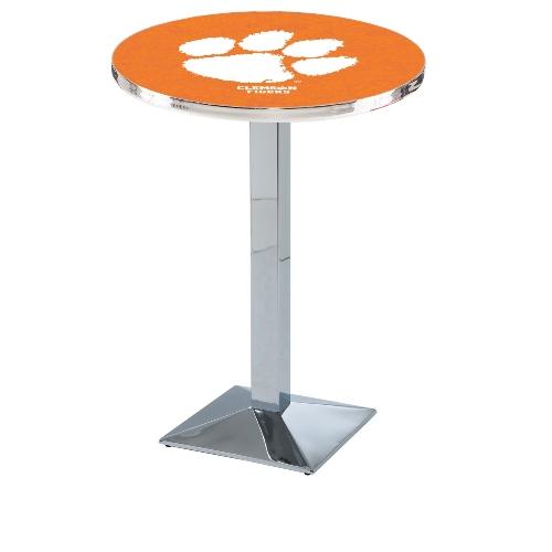 NCAA Pub Table by Holland Bar Stool, Chrome - Clemson, 36'' - L217