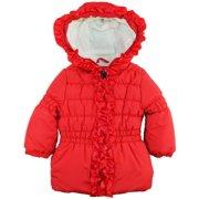 Pink Platinum Little Girls' Toddler Ruffle Hooded Puffer Winter Jacket Coat