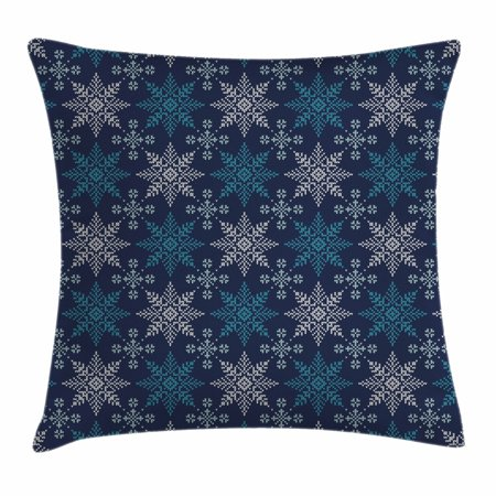 Snowflake Throw Pillow Cushion Cover, Winter Holiday Theme Eight Pointed Star Christmas Pattern, Decorative Square Accent Pillow Case, 18 X 18 Inches, Pale Sea Green Dark Blue Pale Blue, by Ambesonne](Winter Holiday Themes)