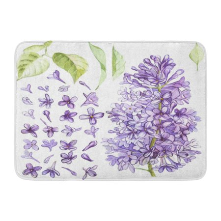 Fabric Mat - GODPOK Purple Beautiful of Watercolor Botanical Lilac Movie Fabrics and Other Objects White Green Beauty Rug Doormat Bath Mat 23.6x15.7 inch