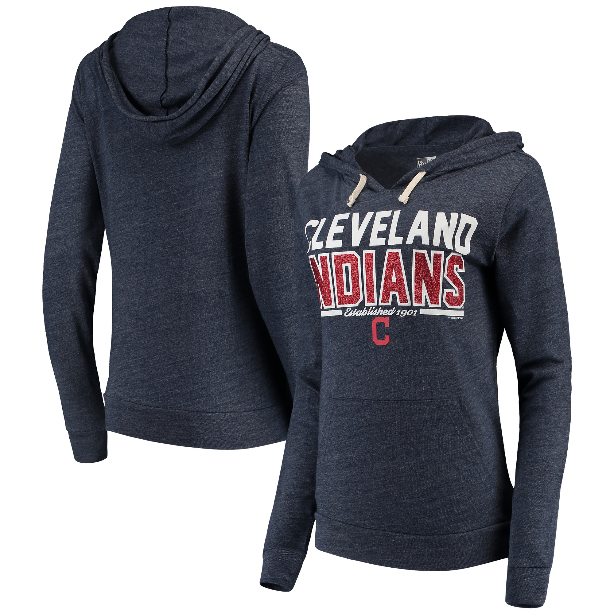 Cleveland Indians 5th & Ocean by New Era Women's Jersey Established Tri-Blend Pullover Hoodie - Navy