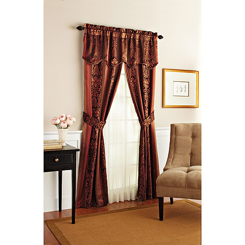 Better Homes and Gardens Antique Wallpaper Stripe Complete Window Curtain Set
