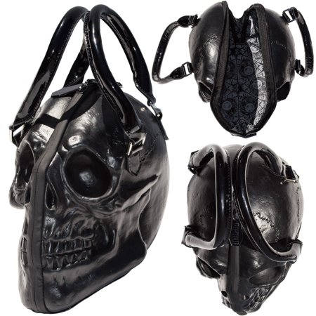 Black Skull Purse Goth Chic Style Kreepsville Latex Bowler Bag Halloween (Halloween Purses)