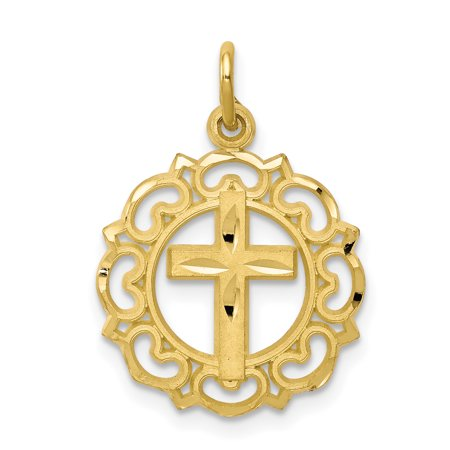 10k Yellow Gold Cross Religious In Frame Pendant Charm Necklace Latin Fine Jewelry For Women Gift Set Comfort Fit Yellow Cross