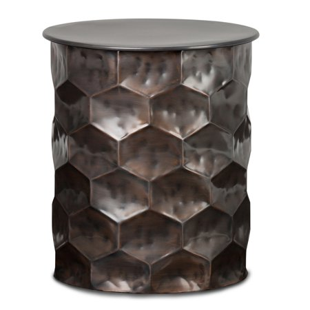 Brooklyn + Max Harmony Contemporary 17 inch Wide Metal Storage Accent Side Table in Antique Bronze, Fully Assembled
