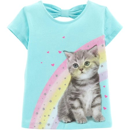 Carters Toddler Girls Rainbow Kitten Short Sleeve