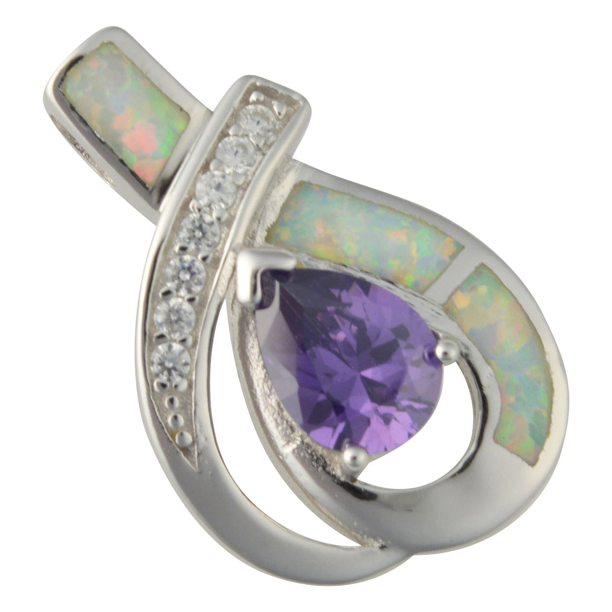 Sterling Silver White Created Opal & Purple CZ Pendant 925 Silver Jewelry