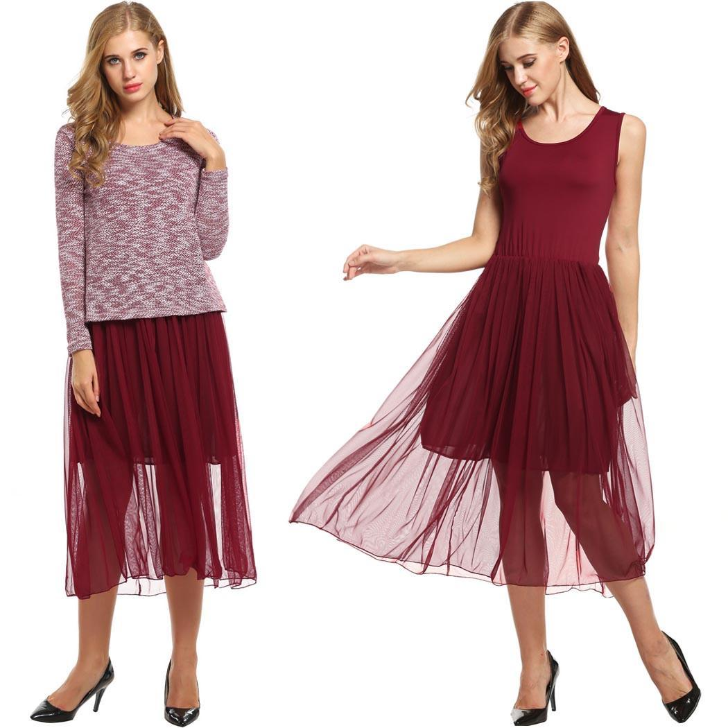 New Year Clearance ! Women Casual Two Pieces Slim Midi Dress and Long Sleeve Knitted Dress  FSBR