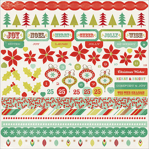 "Mistletoe Cardstock Stickers 12"" x 12"""