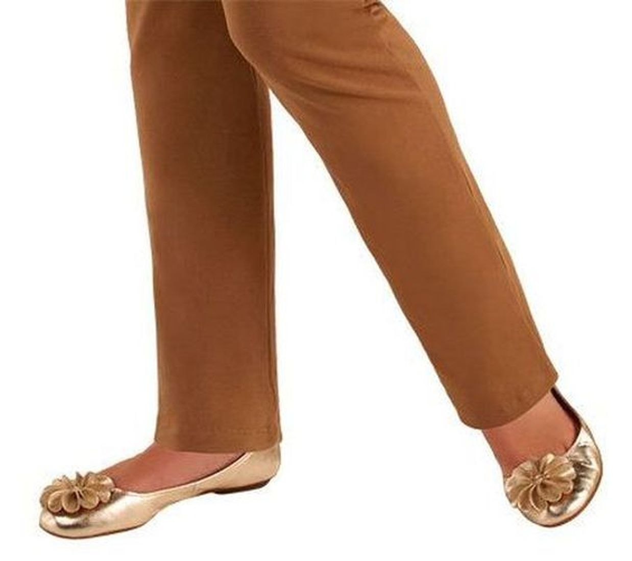 Women with Control PullOn Slim Leg Pants Tummy Control Chocolate P1X NEW A225790