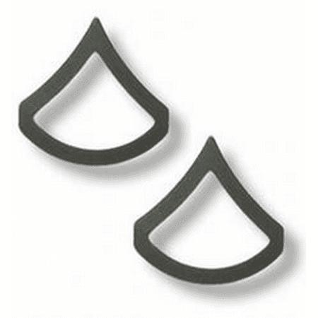 US Army Private First Class PFC Chevron Black Metal Collar Rank Insignia ()