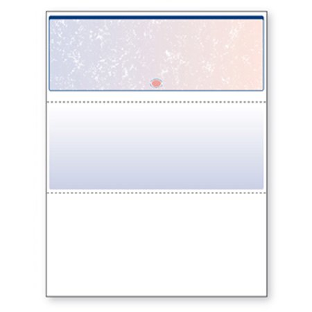 Blank Check Stock - Blank Laser Top Check Paper, Blue/Red Prismatic