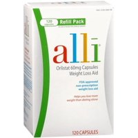 alli Weight Loss Supplement with Orlistat, 60 mg, 120 Capsules, 2 Pack
