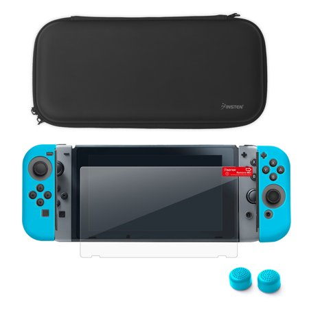 Nintendo Switch Starter Kit  By Insten Travel Carrying Case   Joy Con  L R  Protective Cover   Thumb Grip Stick Caps   Screen Protector For Nintendo Switch Console Controller   Black Blue