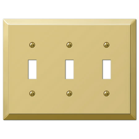 Amerelle 163TTTBR Traditional Triple Toggle Wallplate, Bright Brass