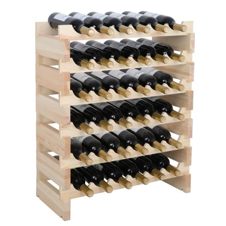 Zeny 36 Bottle Wine Rack Capacity Stackable Storage , Wobble-free, Thicker Wood 18 Bottle Stackable Wine Rack