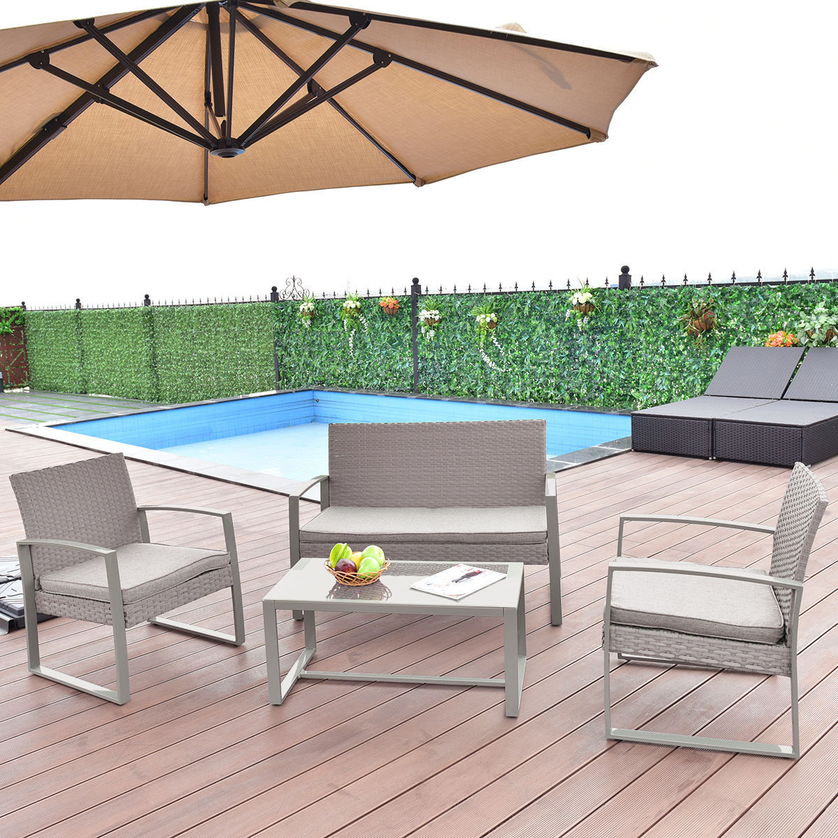 Costway 4 PCS Outdoor Patio Furniture Set Wicker Rattan Table Chair W Cushions Gray by Costway