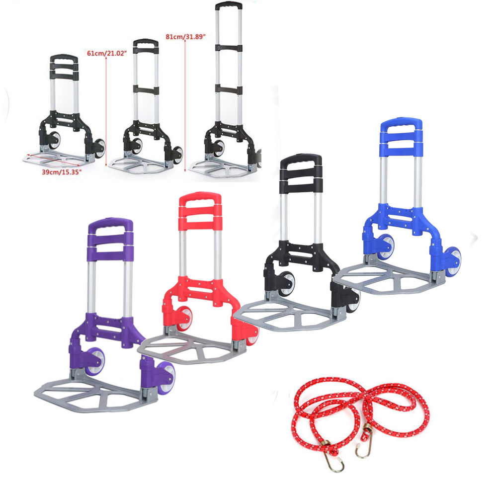 Zimtown Folding Trolley Luggage Dolly Cart Height Adjustable Aluminum Collapsible Hand Cart with PU Rubber Wheels (Multi-color)