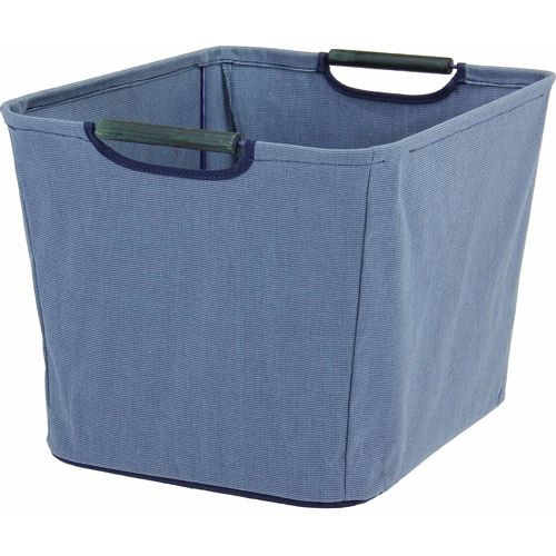 Household Essentials Medium Tapered Bin with Wood Handles, Blue