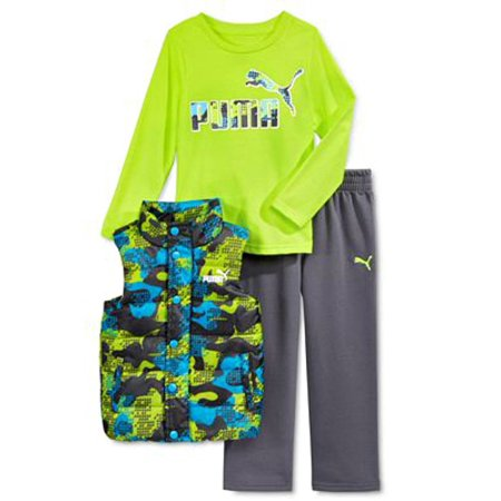 Puma Kids Baby Toddler Boy's Three Piece Set Hoodie or Vest, T-Shirt, Pants Sets (12 Month, Vest Set - Acid Yellow/Grey) (Three Piece Baby Set)