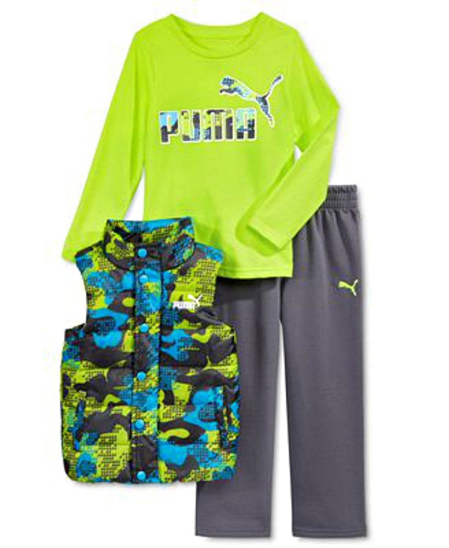 Puma Kids Baby Toddler Boy's Three Piece Set Hoodie or Vest, T-Shirt, Pants Sets (12 Month, Vest Set - Acid Yellow/Grey)