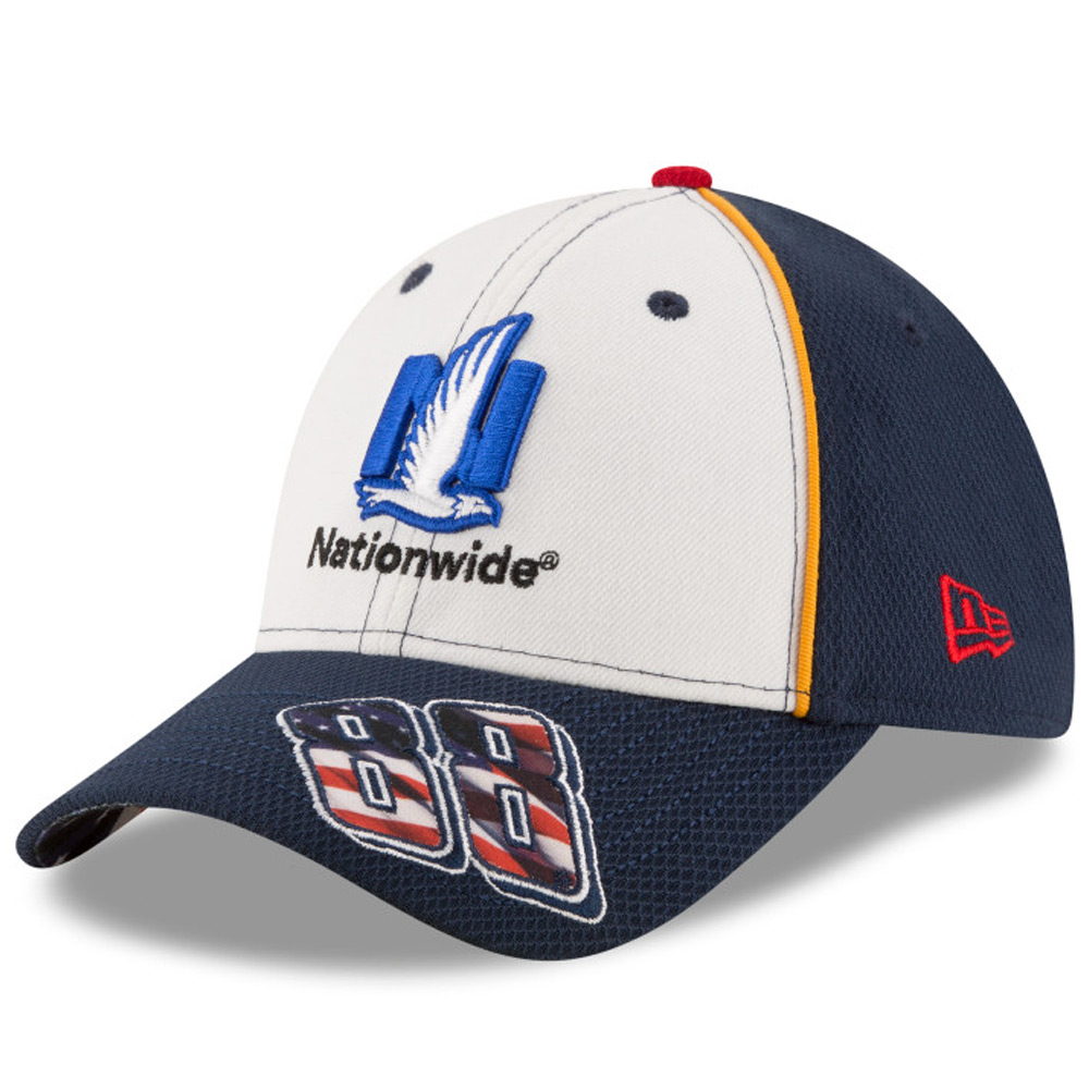 Dale Earnhardt Jr. New Era Nationwide American Salute 9FORTY Adjustable Hat - White/Navy - OSFA