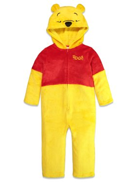 Disney Winnie The Pooh Bear Toddler Fleece Costume Hooded Cosplay Coverall 3T