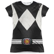 Power Rangers - Black Ranger - Juniors Cap Sleeve Shirt - Large