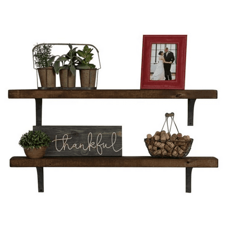 Industrial Grace Simple Bracket Shelves, Set of 2 Dark Walnut