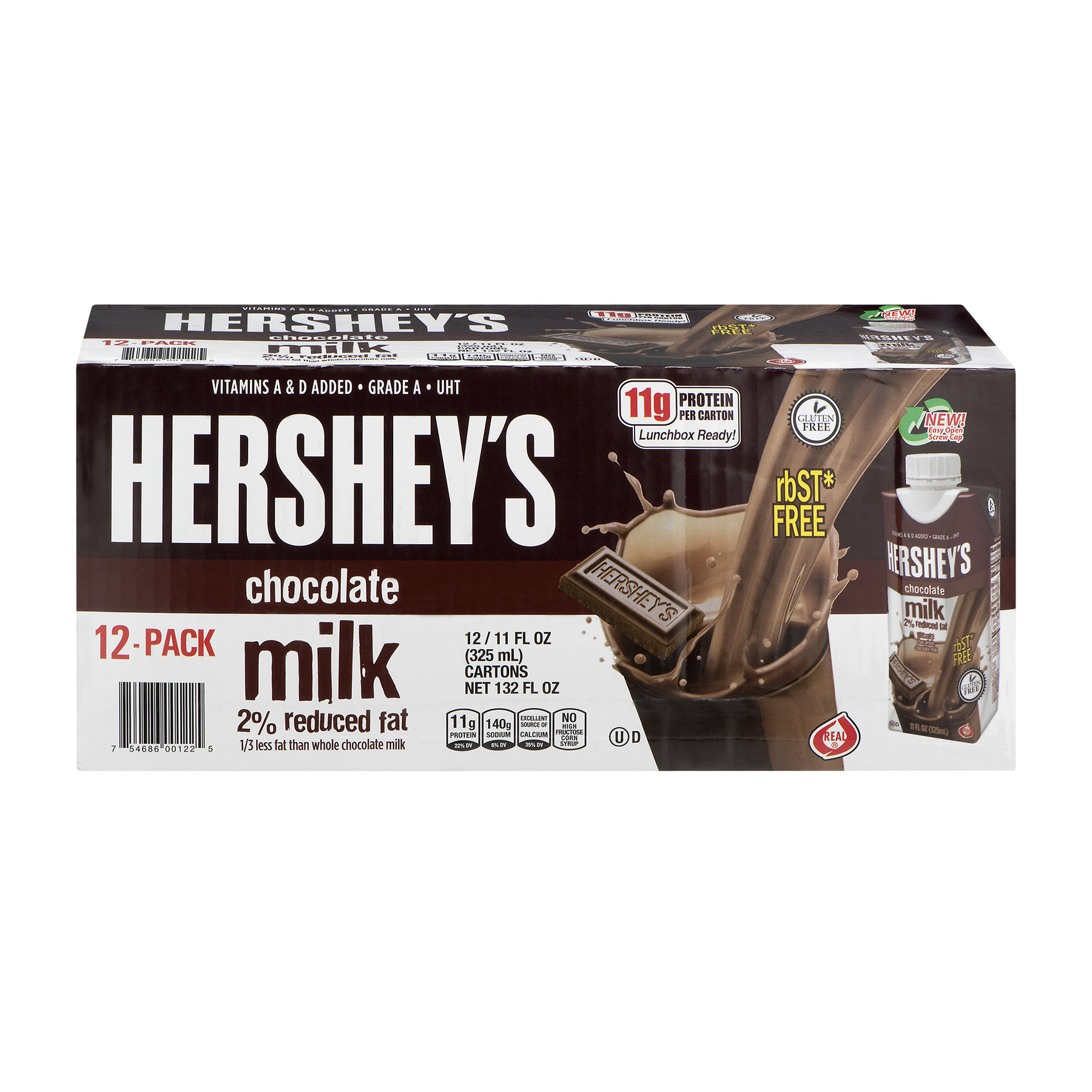 Hershey's Chocolate 2% Reduced Fat Milk, 11 fl oz, (Pack of 12)