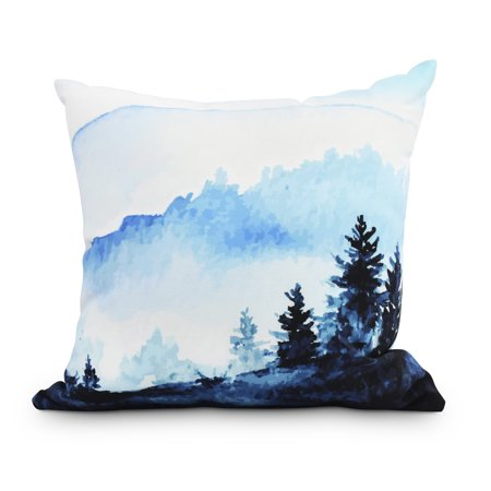 Winter Scene 20 Inch Blue Holiday Print Decorative Outdoor Throw Pillow