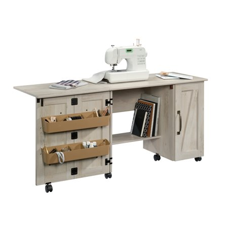 Sauder Sewing and Craft Table, Cinnamon Cherry Finish