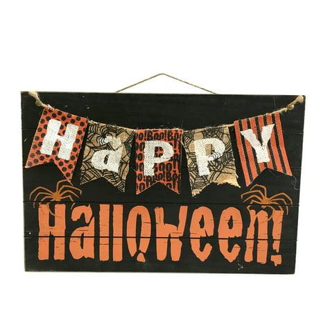 Happy Halloween Sign: MDF, Black, 17.71 x 11.61 inches (Happy Halloween Sign)